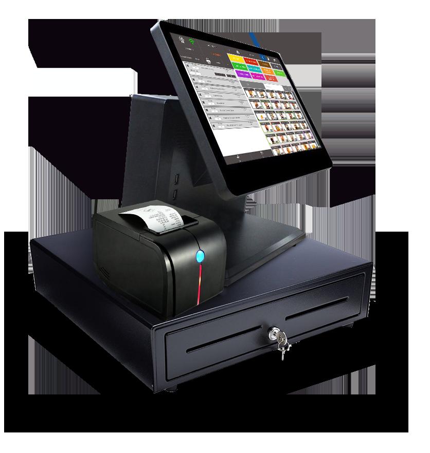 TPV táctil para bares y restaurantes con cajón monedero e impresora. Pack tpv táctil