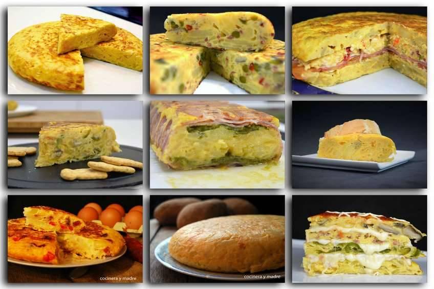 Diferentes variedades de tortilla de patata española.