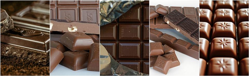 Imágenes alternas de diferentes tabletas de chocolate negro, con leche y almendrado.