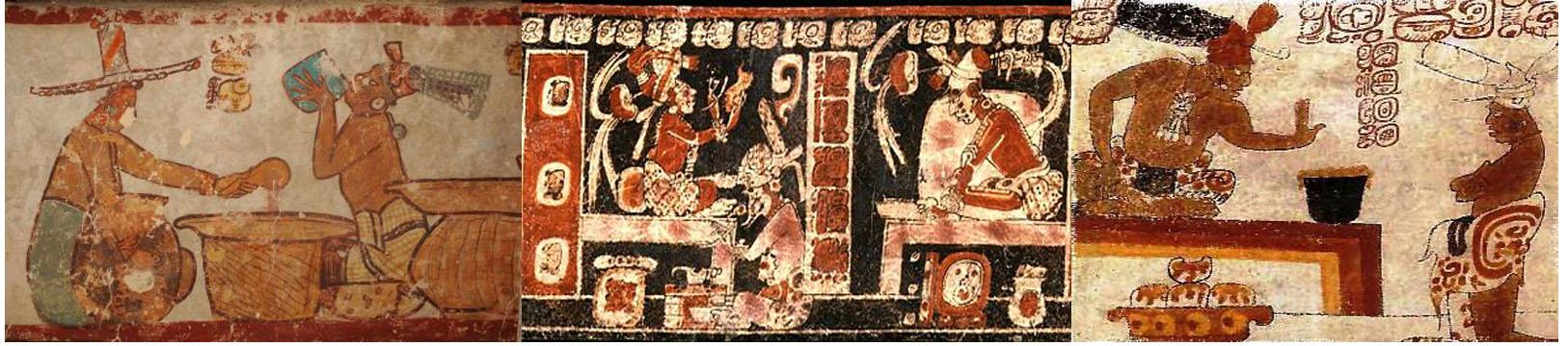 Imágenes antiguas sobre los ritos incas y mayas del chocolate.