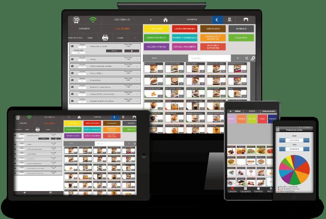 TPV para bares y restaurantes Camarero10. Disponible en multiples dispositivos. Posibilidad de utilizar Comanderos de hostelería y otros módulos extra.