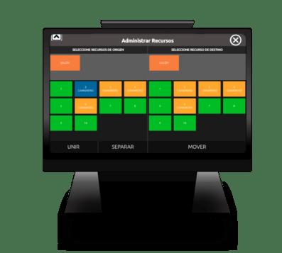 Pantalla de TPV táctil para restaurantes y bares con imagen de programa administrador de mesas en restaurante con cajas de colores naranja, azul, y verde y letras blancas