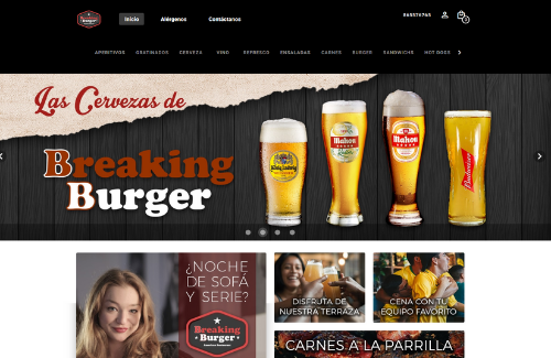 Página web para restaurantes del cliente de camarero10 Breaking Burger