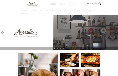 Página web del cliente Camarero10 con el restaurante La Avenida.
