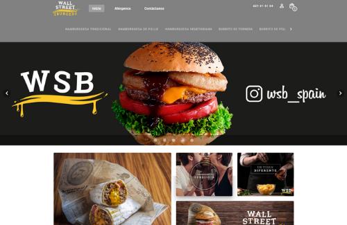 Página web para restaurantes del cliente Camarero10 Wall Street Burger