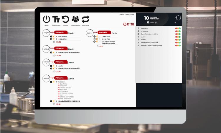 Pantalla de TPV táctil para restaurantes y bares con imagen de programa con selección de productos