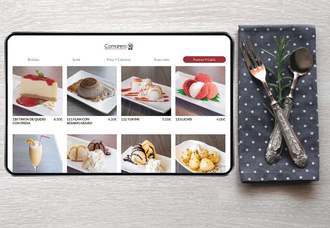 menu de postres dentro de una app de pedido en mesa para restaurantes y bares