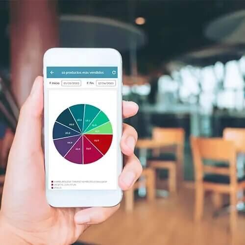 gestiona todas tus métricas del software tpv restaurante desde el móvil y en cualquier lugar desde la app decisions