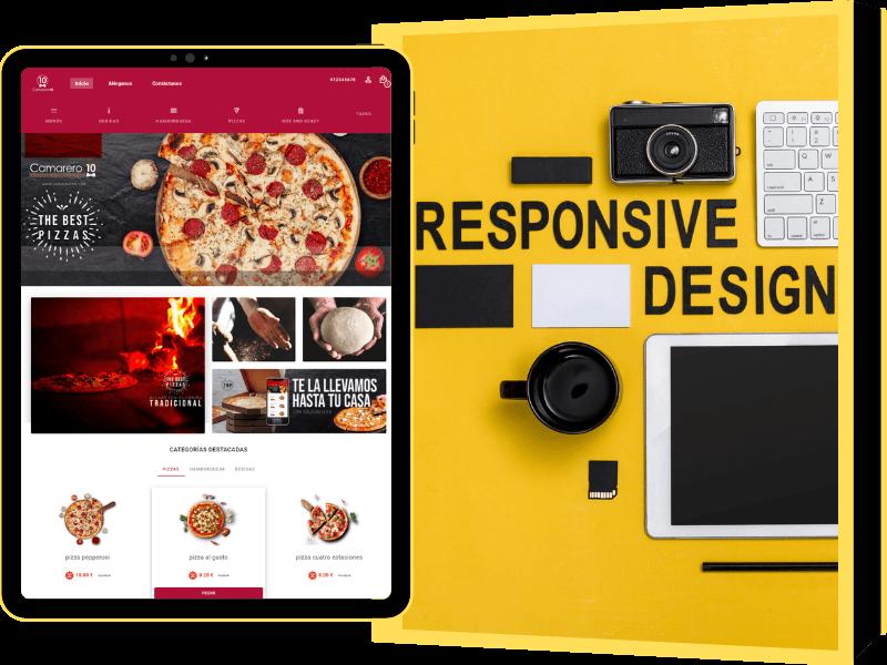 Creamos tu página web para pedidos online de tu restaurante. Se gestiona sin necesidad de conocimientos web.