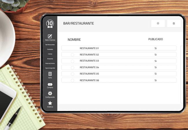 tablet tpv con software para restaurantes y visualización de las sedes de una franquicia