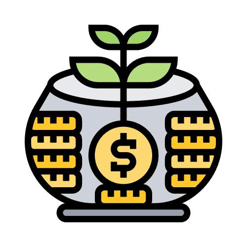 imagen con hucha y dinero creciendo