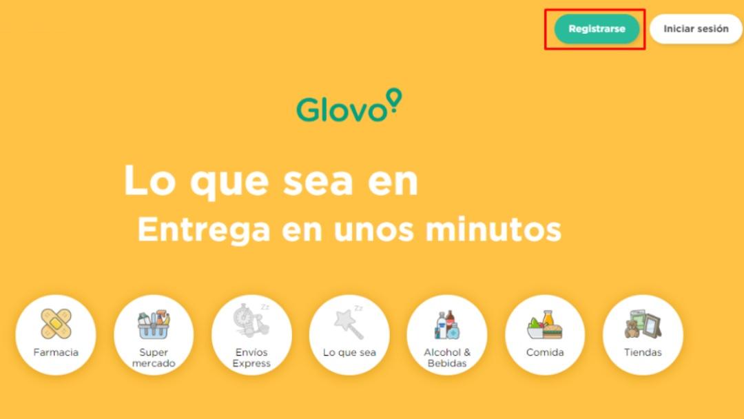 Registro en app Glovo