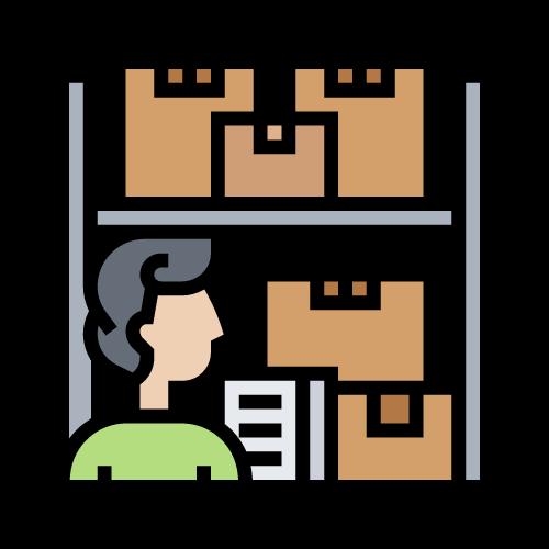 imagen persona con estantería y cajas