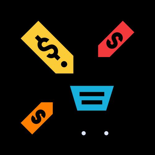 imagen carrito de la compra con etiquetas