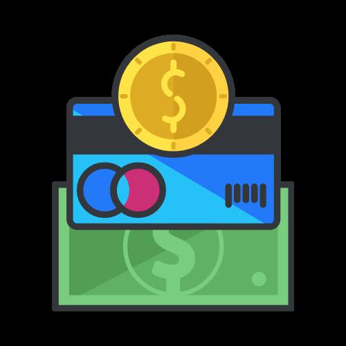 imagen tarjeta de crédito moneda y billete