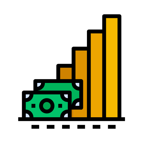 imagen dinero con grafica de barras