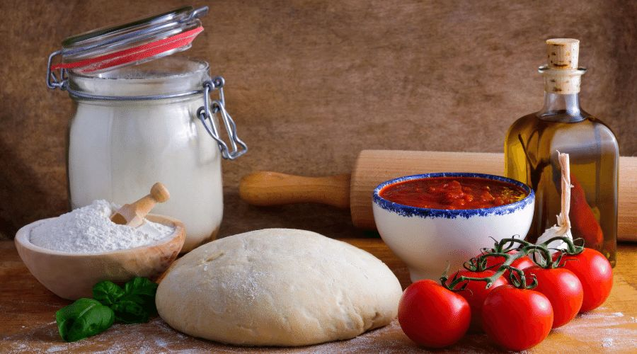 Ingredientes para cocinar una pizza